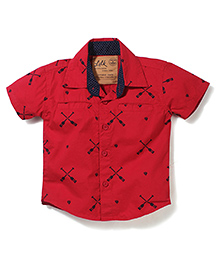 Little Kangaroos Half Sleeves Shirt Crossed Oars Print - Red
