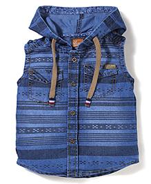 Little Kangaroos Sleeveless Hooded Shirt - Blue