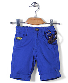 Little Kangaroos Shorts with Designer Belt - Blue