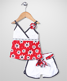 Little Kangaroos Singlet Top and Shorts Set Floral Print - Red and White