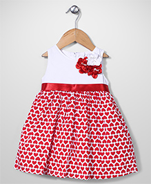 Little Kangaroos Sleeveless Frock Hearts Print - Red and White