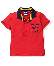 Little Kangaroos Half Sleeves T-Shirt Yacht Club Print - Red