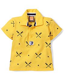 Little Kangaroos Half Sleeves T-Shirt Crossed Oars Print - Yellow