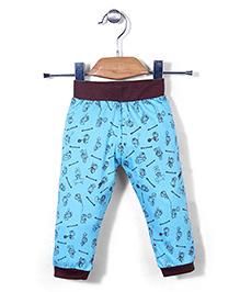 Red Ring Track Pants Doraemon Print -Blue