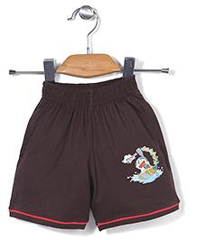 Red Ring Shorts Doraemon Print - Brown
