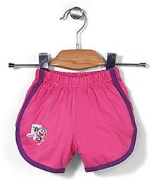 Red Ring Shorts Doremon Print - Pink