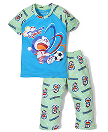 Red Ring Doraemon Printed T-Shirt & Pajama Night Suit - Green & Blue