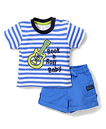 ToffyHouse Contrast Neckline T-Shirt And Shorts Guitar Embroidery - White Blue
