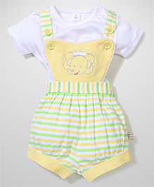 ToffyHouse Stripe Dungaree With Top Elephant Embroidery - Yellow Green White
