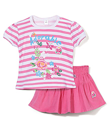 ToffyHouse Short Sleeves Stripe Top And Skirt Floral Print - Pink White