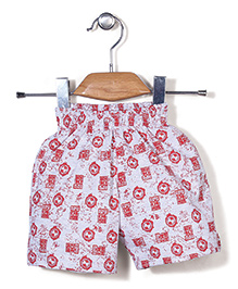 Red Ring Shorts Ben 10 Print - White & Red