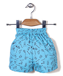 Red Ring Shorts Doraemon Print - Turquoise Blue