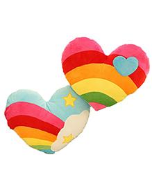 StyBuzz Rainbow Heart Combo Cushions - Set Of 2
