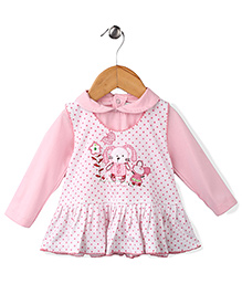 Babyhug Full Sleeves Dotted Print Frock With Inner Tee - Pink And White