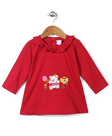 Babyhug Full Sleeves Short Frock Bear Embroidery - Red