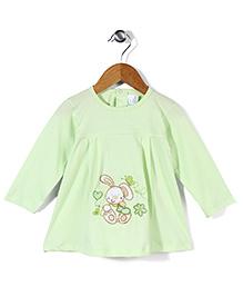 Babyhug Full Sleeves Short Frock Rabbit Embroidery - Light Green