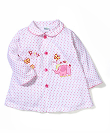 Babyhug Long Sleeves Dotted Frock With Elephant Patch - Pink