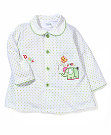 Babyhug Long Sleeves Dotted Frock With Elephant Patch - Green