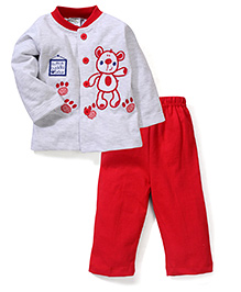 Babyhug Full Sleeves Top And Leggings Bear Embroidery - Grey Red