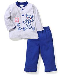 Babyhug Full Sleeves Top And Leggings Bear Embroidery - Grey Blue