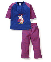 Babyhug Full Sleeves T-Shirt And Leggings Embroidery - Blue Red