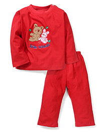 Babyhug Full Sleeves T-Shirt And Leggings Friends Embroidery - Red