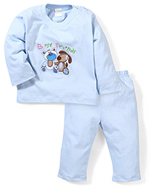 Babyhug Full Sleeves T-Shirt And Pajama Friends Embroidery - Light Blue