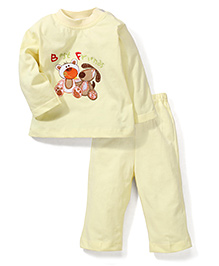 Babyhug Full Sleeves T-Shirt And Pajama Friends Embroidery - Light Yellow