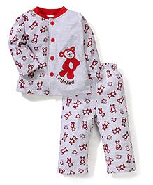 Babyhug Full Sleeves T-Shirt And Pajama Teddy Embroidery - Grey Red