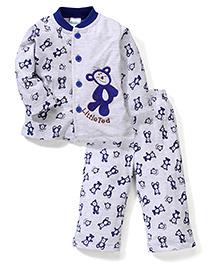 Babyhug Full Sleeves T-Shirt And Pajama Teddy Embroidery - Grey Blue