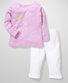 Babyhug Full Sleeves Night Suit Fairy Print - Pink and White