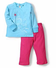 Babyhug Full Sleeves Night Suit Fairy Print - Pink and Blue