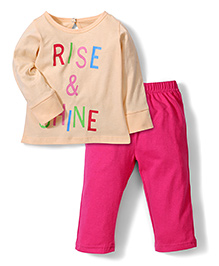 Babyhug Full Sleeves Night Suit Rise and Shine Print - Pink and Peach