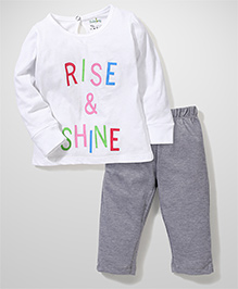 Babyhug Full Sleeves Night Suit Rise and Shine Print - White and Grey