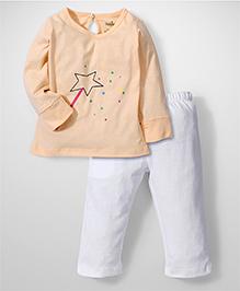 Babyhug Full Sleeves Night Suit Magic Wand Print - Peach and White