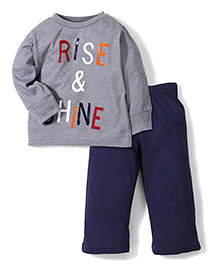 Babyhug Full Sleeves Night Suit Rise and Shine Print - Blue and Grey