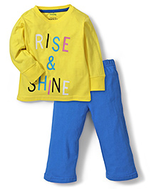 Babyhug Full Sleeves Night Suit Rise and Shine Print - Blue and Yellow