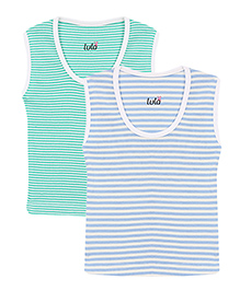 Lula Sleeveless Vests Striped Print Pack of 2 - Blue and Green