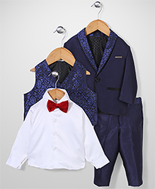 Zeal 4 Piece Party Suit With Bow - Royal Blue & White