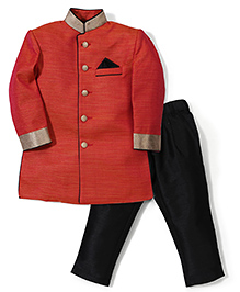Zeal Indo Western Style Mandarin Collar Coat & Trouser Set - Red & Black