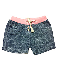 Bees And Butterflies Printed Denim Shorts - Light Blue