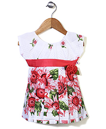 Rosy Bow Sleeveless Frock Floral Print - Red and White