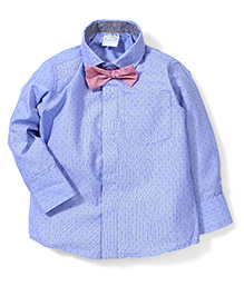 Babyhug Full Sleeves Shirt With Bow - Blue