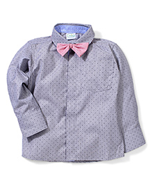 Babyhug Full Sleeves Shirt With Bow - Grey