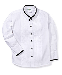 Babyhug Full Sleeves Party Wear Shirt With Band Collar - White