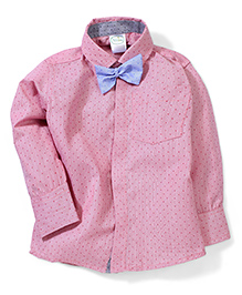Babyhug Full Sleeves Shirt With Bow - Pink