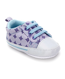 Luvable Friends Baby Shoes With Lace - Lavender Purple & White