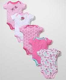 Luvable Friends Set Of 5 Onesies - Pink