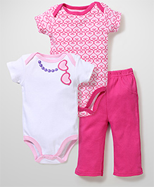 Luvable Friends Set Of 2 Onesies & Leggings - Pink