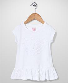 Sela Short Sleeves Knitted Tunic Heart Design - Off White